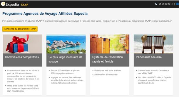 Le portail Expedia TAAP résevé aux agences de voyages française - DR