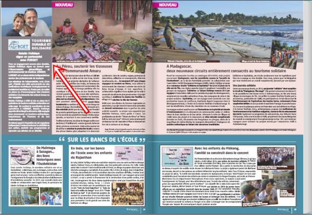 Les projets durables et l'engagement avec l'OBGET dans le catalogue général du voyagiste diffusé à 180 exemplaires. Cliquer pour voir le détail.