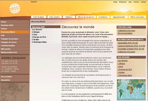 Kuoni Suisse lance les produits ''Discovery''