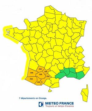 Météo France lance une alerte orange aux crues pour 7 départements du Sud-Ouest de la France - DR : Météo France