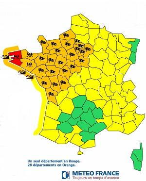 Le Finistère passe en vigilance rouge - DR : Météo France