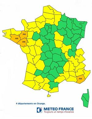 Le Morbihan, l'Ille-et-Vilaine, la Loire-Atlantique et le Var sont en vigilance orange aux crues - DR : Météo France