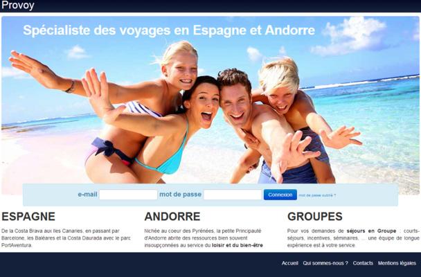 Lancé en février 2011, Provoy.fr était un site de réservation d'hébergements en B2B - capture d'écran