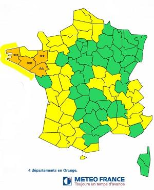 3 départements bretons et la Loire-Atlantique restent sous la menace de crues ce mercredi 12 février 2014 - DR : Météo France