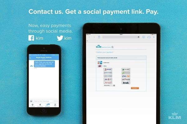 KLM permet à ses clients de payer sur les réseaux sociaux - DR