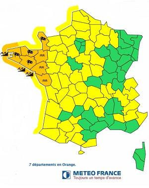 Météo France place 7 départements de l'Ouest de la France en vigilance Orange ce vendredi 14 février 2014 - DR : Météo France