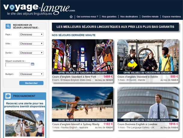 Voyage-langue.com applique le modèle connu des séjours touristiques promotionnels - du type LastMinute.com, au secteur des voyages linguistiques - DR