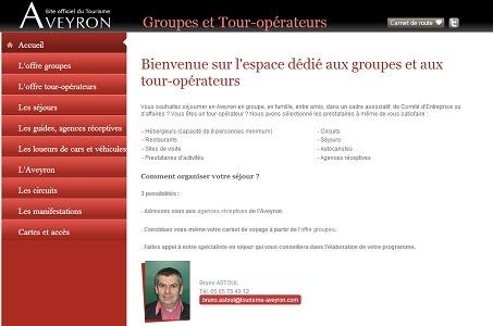 Le site Internet du CDT de l'Aveyron dédié aux TO et groupistes a pour but de leur faciliter l'organisation de séjours sur la destination - Capture d'écran