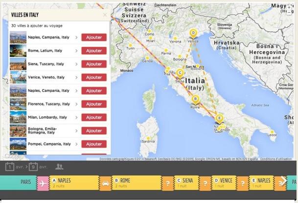 Design moderne et intuitif, le moteur de recherche permet de créer un voyage entièrement sur-mesure : à partir d'une carte géographique, l'agent de voyages peut construire un produit modulable avec son client sur une interface très visuelle.
