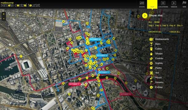 Tourism Victoria a fait une utilisation des cartes similaires, il y a quelques mois, avec sa campagne Remote Tourist où tous les restaurants, bars, cafés et attraits étaient géolocalisés sur une carte.