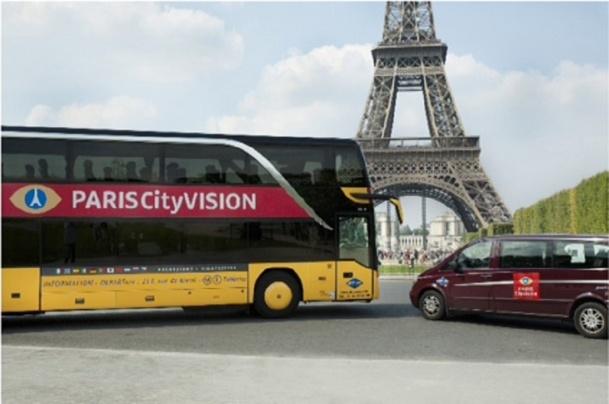 A partir du 1er avril 2014, Paris CityVision affichera son nouveau logo sur l'ensemble de ses bus, de ses minibus et de ses bateaux -Photo DR
