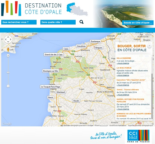 DestinationCotedopale.fr a pour objectif de générer du trafic sur les portails web des professionnels de la destination - Capture d'écran