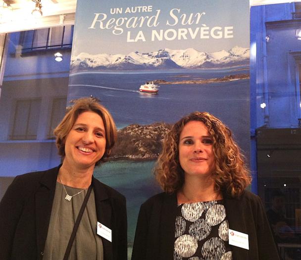 Christine Bois la directrice et Mélanie Petrilli, la directrice marketing d'Hurtigruten accueilleront les amoureux de la Norvège toute la semaine pour une exposition de photos à Paris. Photos LAC.