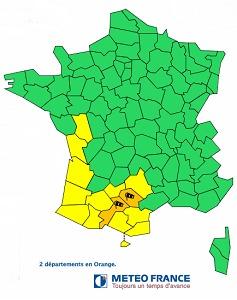 le Tarn et la Haute-Garonne devrait voir un fort vent d'autan souffler dans l'après-midi - DR : Météo France
