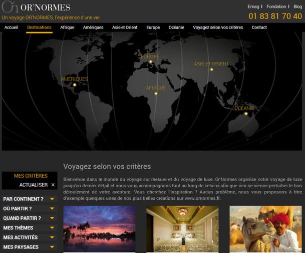Dans le cadre de son développement, Or'Normes propose désormais une nouvelle version de son site Internet - Capture d'écran
