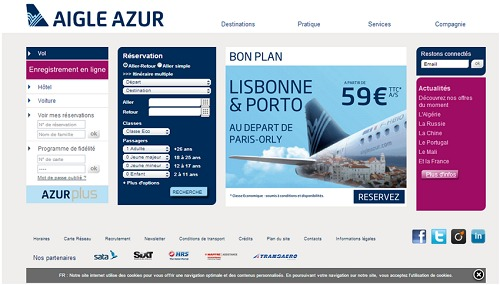Aigle Azur repense son site Internet - Capture d'écran