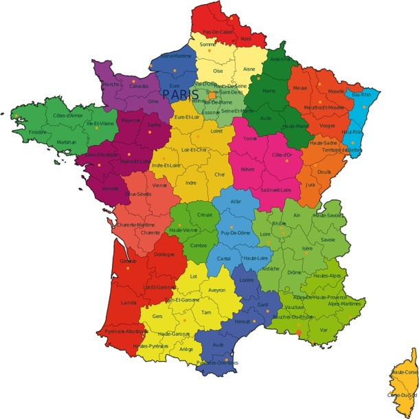 carte de france regions et departements 2017