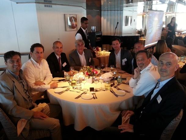 Thomas Desplanques, Directeur de l'IFTM, entouré de partenaires et d'invités au déjeuner organisé à bord du Zenith, samedi 17 mai 2014; à Marseille - Photo DR