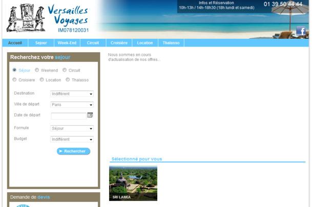 Le site internet de Versailles Voyages actuellement en construction - Capture d'écran