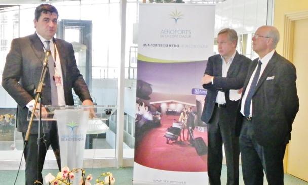 Dominique Tillaud Président Société Aéroports Côte d'Azur, Michael Friisdahl, Président-Directeur Général du Groupe de voyage d'agrément Air Canada rouge et Alain Gumiel Président CRT Riviera Côte d'Azur - Photo M.B.