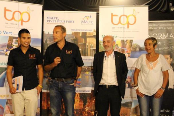 De gauche à droite : Soon Voeuk, responsable commercial Rhône Alpes, TOP ; Fabien Cadio, Directeur commercial TOP ; Thierry Durand Office du Tourisme de Malte ; Caroline Alves Responsable commercial Bourogne Centre TOP
