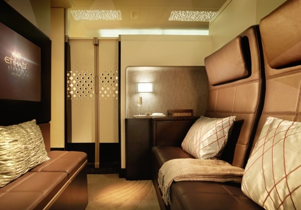 "Etihad will launch mini-studios about 12 m2 with a sitting area, a double bed, a private shower and private toilet, called ""the residence"" - DR"