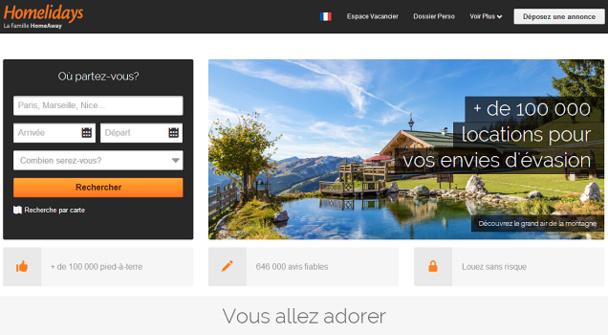 Le nouveau site de Homelidays.com laisse une large place aux photos - Capture d'écran