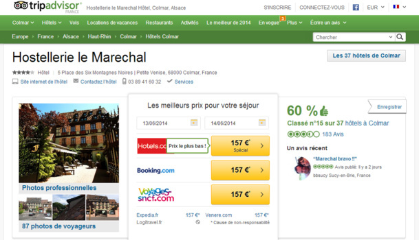 The page of Hostellerie le Marechal on TripAdvisor - Screen Shot