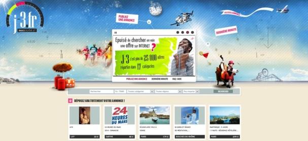 Sur J-3.fr, les internautes trouveront uniquement des annonces à j-3 pour les divertissements (concert, théâtre, restaurant …) et à j-7 pour les annonces liées aux vacances (séjour, location, billet de train, covoiturage …) - Capture d'écran