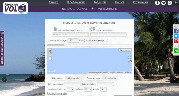 La jeune startup made in France vient de lancer la version bêta de son site de comparateur de vols, ProchainVol.