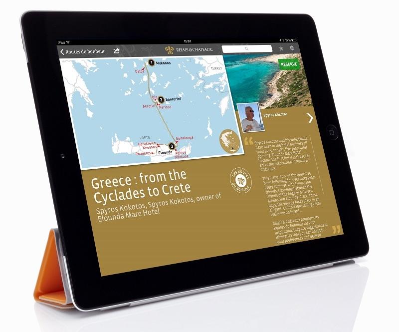 """L'application pour tablette de Relais & Châteaux s'enrichit de nouvelles fonctionnalités comme ses 62 """"Routes du bonheur"""" destinées à inspirer ses clients - DR"""
