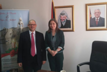 David Sprecher and the Minister of Tourism of the Palestinian Authority, Mrs. Rula Ma'an - DR
