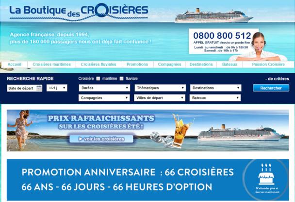 La Boutique des Croisières était une marque de la société TAAJ qui distribuait ses croisières mais aussi celles d'autres compagnies - Capture d'écran