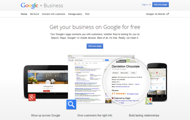 La page d'accueil de Google Business - Capture d'écran Google