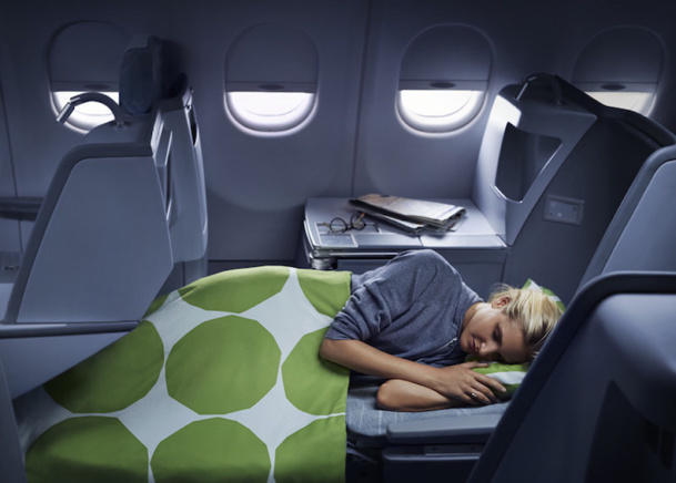 In Business Class, Finnair offers a bed that horizontally reclines in almost all of its fleet - DR Finnair.