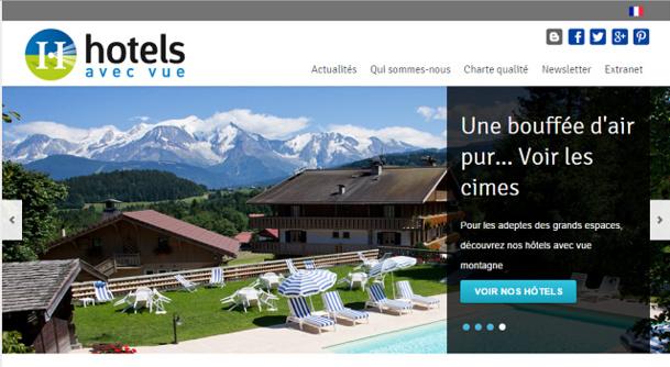 Hôtels avec Vue est un site basé à Lyon qui recense les établissements et les classe selon la vue qu'ils offrent - Capture d'écran