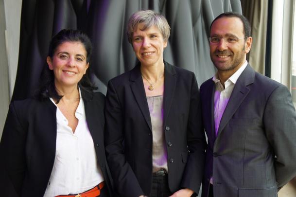 Agnès Ogier, directrice marketing SNCF Voyages, entourée par Laurent Bijaoui, le nouveau directeur des Ventes Agences de Voyages & Entreprises SNCF Voyages qui va succéder à Valérie Assayag (à gauche) - Photo CE