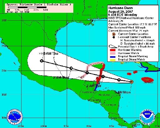 Dean s'approche des côtes du Yucatan (cliquer pour agrandir)