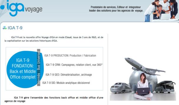 IGA T-9 est la nouvelle offre Voyage d'IGA en mode Cloud, issue de 3 ans de R&D, et de la capitalisation sur les solutions historiques d'IGA - DR
