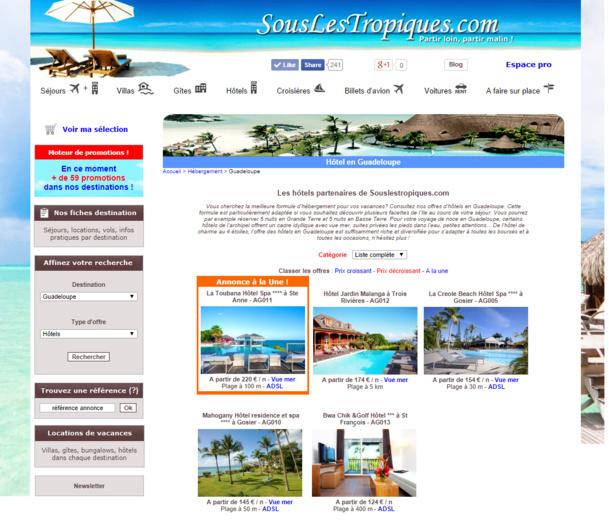 Le site souslestropiques.com s'ouvre aux hôtels en proposant des services innovants pour renouer avec le client en direct.