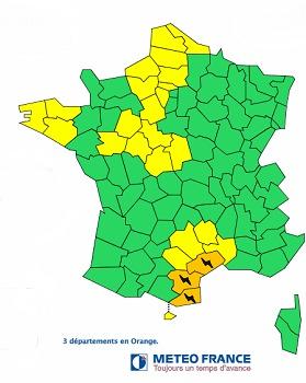 L'Hérault, l'Aude et les Pyrénées-Orientales sont sous vigilance orange ce lundi 29 septembre 2014 - DR : Météo France