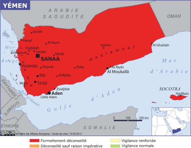 Le Ministère des Affaires Etrangères déconseille le Yémen - Source MAE