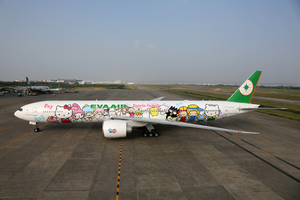 Le Boeing Hello Kitty d'Eva Air assurera des vols réguliers Paris - Taipei, dès le 30 octobre 2014 - DR : Eva Air