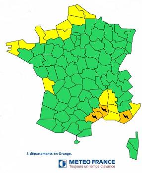 Météo France place l'Hérault, le Gard et le Var en vigilance orange aux orages - DR : Météo France
