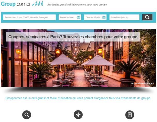 Le site de la plateforme GroupCorner dédiée aux demandes pour plus de 8 chambres - DR