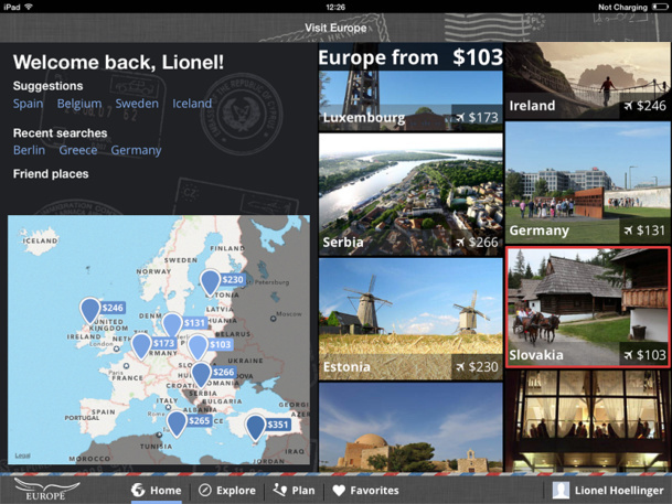 VisitEurope the application targeted at Americans