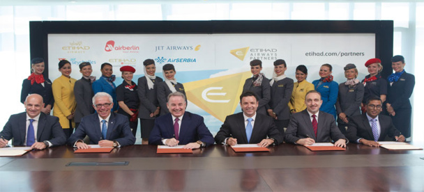 Maurizio Merlo, CEO Darwin Airline; Wolfgang Prock-Schauer, CEO airberlin ; James Hogan, President and CEO Etihad Airways; Cramer Ball , CEO Jet Airways ; Dane Kondić, CEO Air Serbia , Manoj Papa, CEO Air Seychelles.