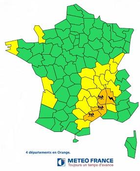 Météo France met en garde contre les orages et les risques d'inondation dans 4 départements du Sud de la France - DR : Météo France