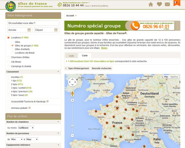 La rubrique dédiée aux Gîtes de Groupes sur le site des Gîtes de France - DR