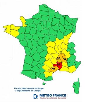 Météo France actualise son bulletin de vigilance et place le Gard en rouge - DR : Météo France